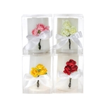 "4 pcs 2.5"" x 3"" Scented Pillar with Roses Candle in Clear Box - Asst"