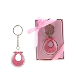 Mega Favors - Baby Bib Poly Resin Key Chain in Gift Box - Pink