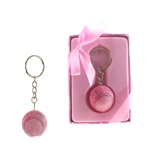 Mega Favors - Baby Baseball Poly Resin Key Chain in Gift Box - Pink