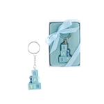 Mega Favors - Baby Blocks with Teddy Bear Poly Resin Key Chain in Gift Box - Blue
