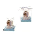 Angel Praying on Clouds Poly Resin Candle Set in Gift Box - Blue