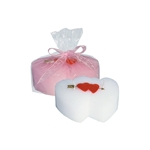 Double Heart Candle - White