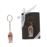Mega Favors - Baby Angel Praying on Clouds Poly Resin Key Chain in Gift Box - Blue