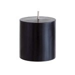 "Mega Candles - 3"" x 3"" Unscented Round Pillar Candle - Black"