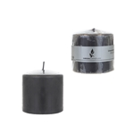 "3"" x 3"" Unscented Domed Top Press Pillar Candle in Shrink Wrap - Dark Gray"