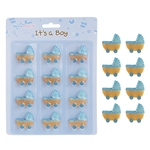 Mega Crafts - 12 pcs Baby Carriage Poly Resin Embellishments - Blue