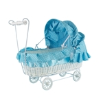"Mega Favors - 12"" Baby Wicker Carriage - Blue"