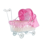 "Mega Favors - 12"" Baby Wicker Carriage - Pink"