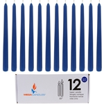 "12 pcs 10"" Unscented Taper Candle in White Box - Dark Blue"