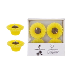"Mega Candles - 4 pcs 2"" Unscented Floating Sun Flower Candle in White Box - Yellow"