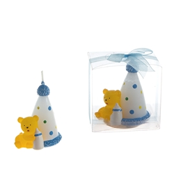 Mega Candles - Teddy Bear with Birthday Cone Candle in Clear Box - Blue