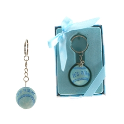 Mega Favors - Baby Baseball Poly Resin Key Chain in Gift Box - Blue