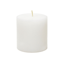 "Mega Candles - 3"" x 3"" Unscented Round Pillar Candle - White"