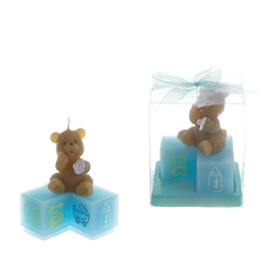 Mega Favors - Teddy Bear with Pacifier on Blocks Candle in Clear Box - Blue