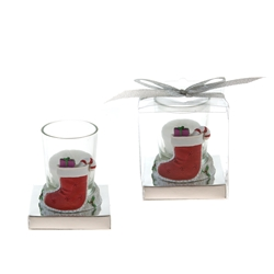Mega Favors - Stocking Poly Resin Candle Set in Gift Box - White