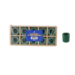"Mega Candles - 10 pcs Ceramic 1/2"" Chime / Spell Candle Holder - Green"