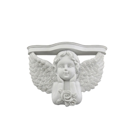 Mega Favors - Angel with Wings Holding Up Chin Poly Resin Plaque - White