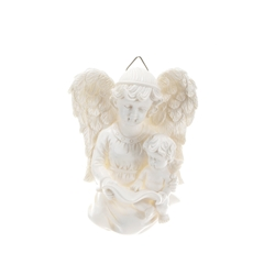 Mega Favors - Angel Reading to Baby Angel Wall Plaque - White