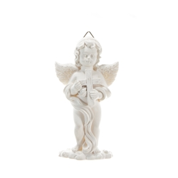 Mega Favors - Angel Holding onto Cross Wall Plaque - White