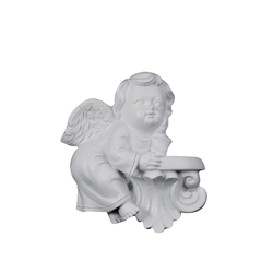 Mega Favors - Angel Resting on Balcony Poly Resin Plaque - White