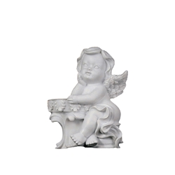 Mega Favors - Angel Sitting Next to Balcony Poly Resin Plaque - White