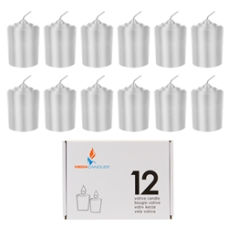 Mega Candles - 12 pcs 15 Hours Unscented Votive Candle in White Box - Silver