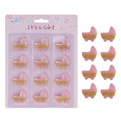 Mega Crafts - 12 pcs Baby Carriage Poly Resin Embellishments - Pink