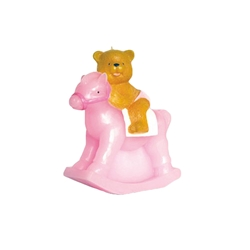 "Mega Candles - 14"" Teddy Bear Riding on Toy Rocking Horse Candle - Pink"