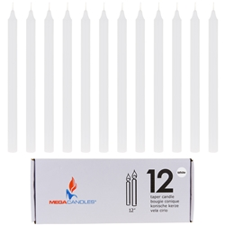 "Mega Candles - 12 pcs 12"" Unscented Straight Taper Candle in White Box - White"